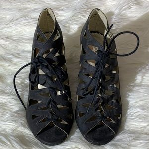 Maurice's Black Lace Up Wedges size 9